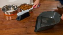 Sweeping Up Debris In Front of Pet Dishes